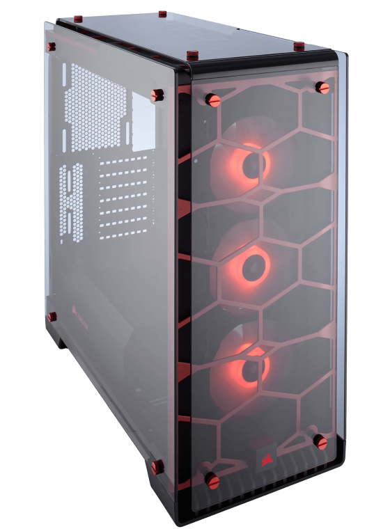 CORSAIR CRYSTAL SERIES 570X RGB TEMPERED GLASS ATX CASE – RED